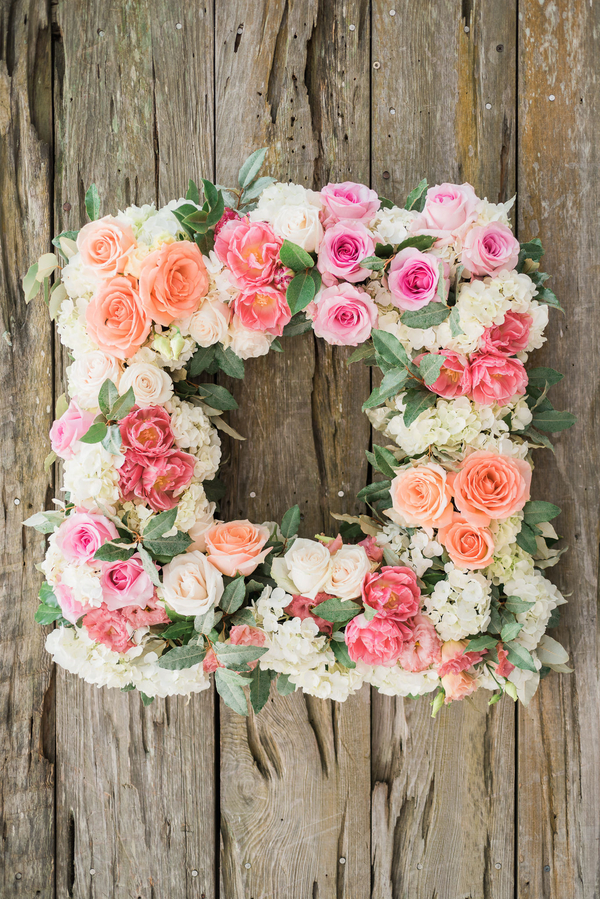 Square wreath of Spring flowers by Charleston Stems