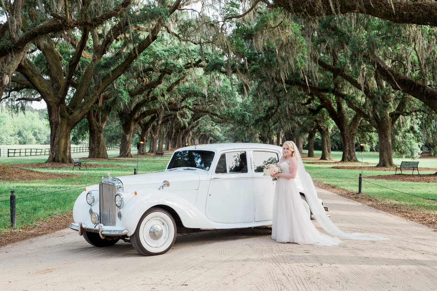 Vintage car at Charleston wedding