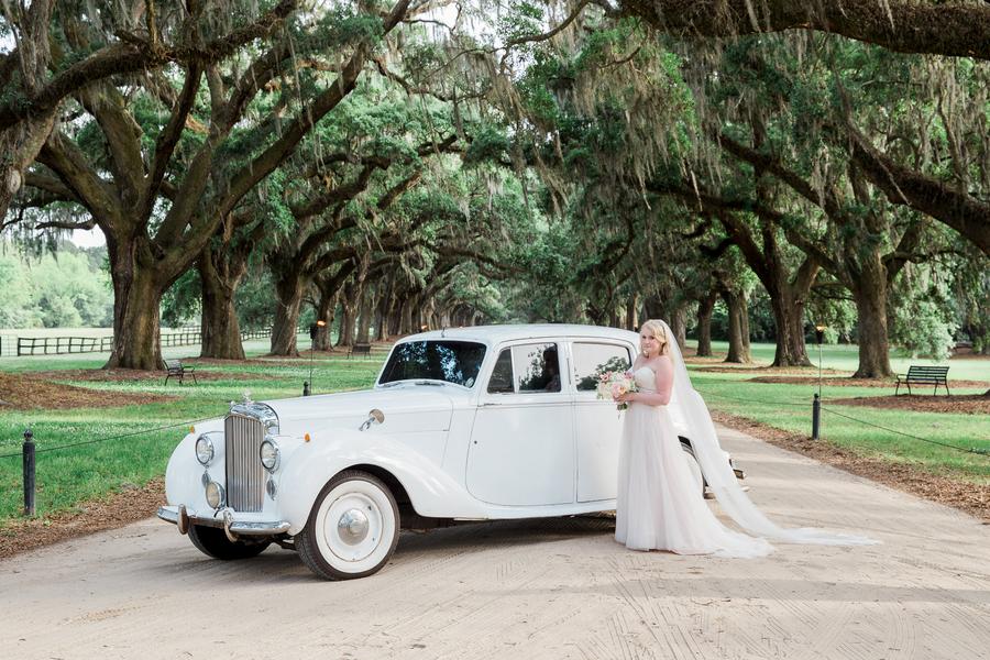 Vintage car at Charleston wedding