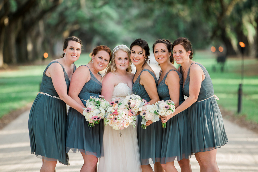 Dark teal bridesmaids dresses