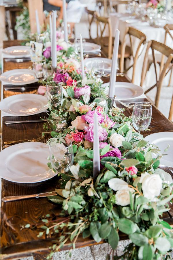 Fresh flower table runner by Charleston Stems