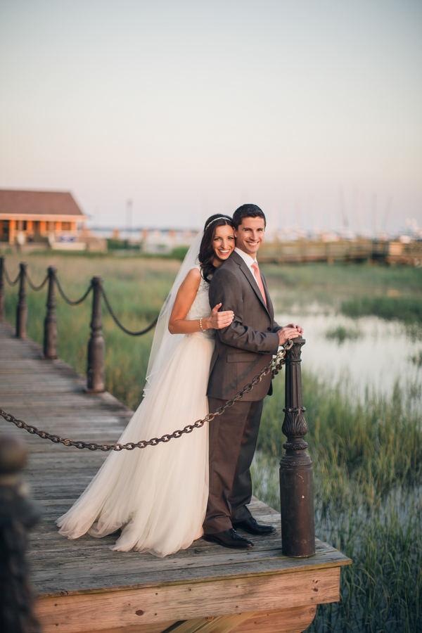 Coastal Lowcountry wedding overlooking the Charleston City Marina