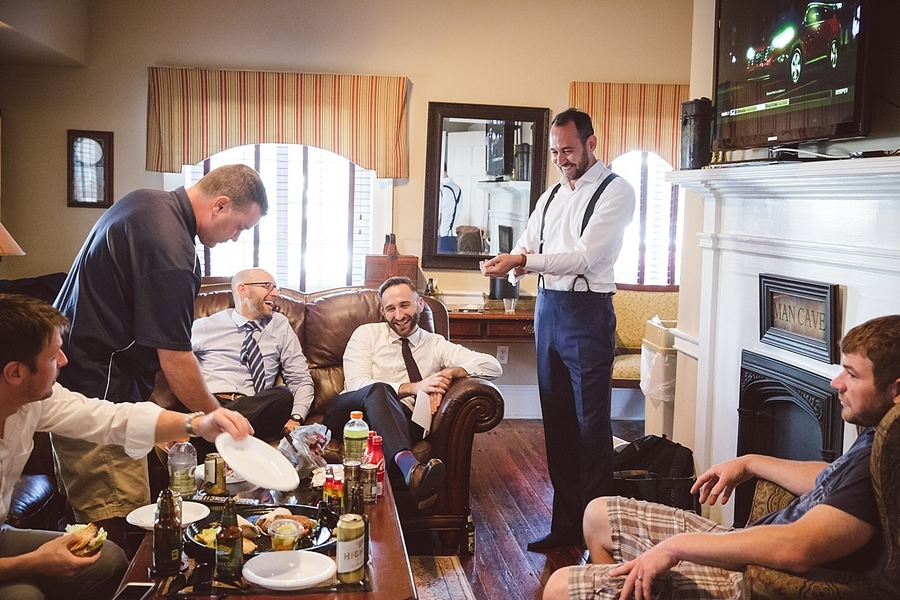Groom and Groomsmen prepping for wedding day