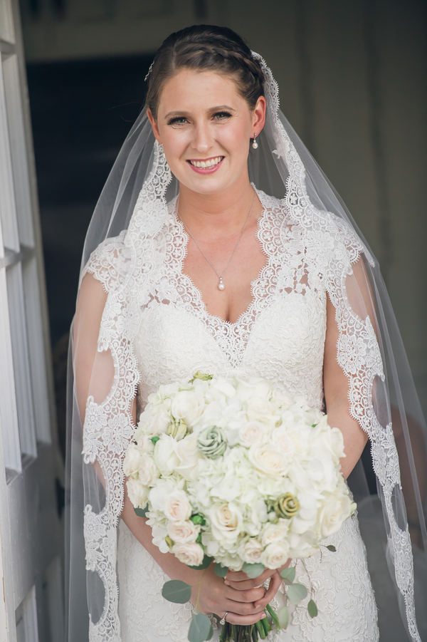Charleston bride in a lace gown