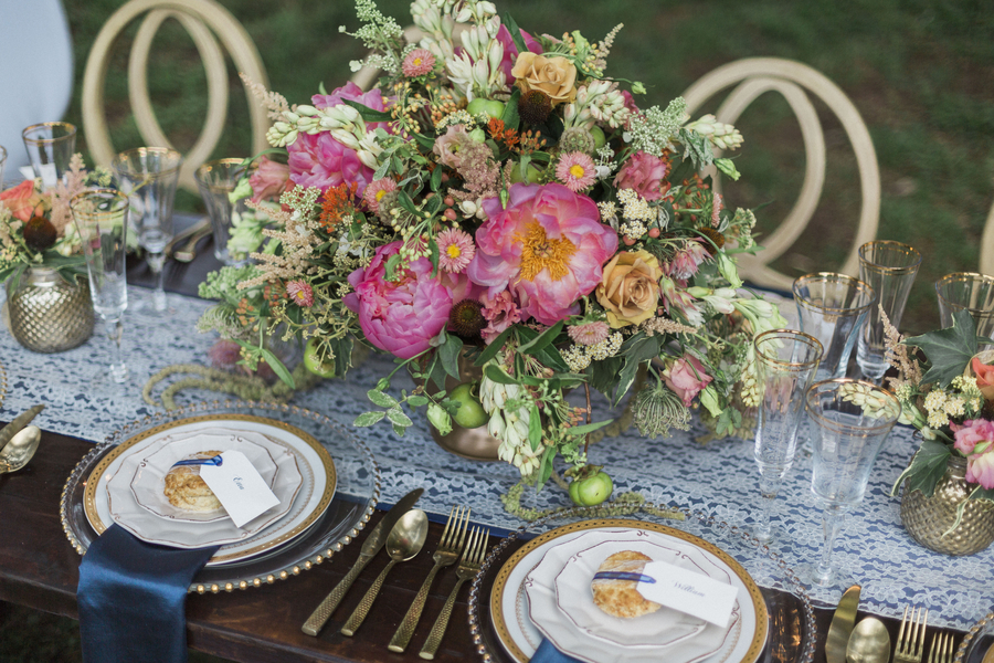 Glamorous McLeod Plantation wedding centerpieces from Wildflowers Inc. in Charleston, SC