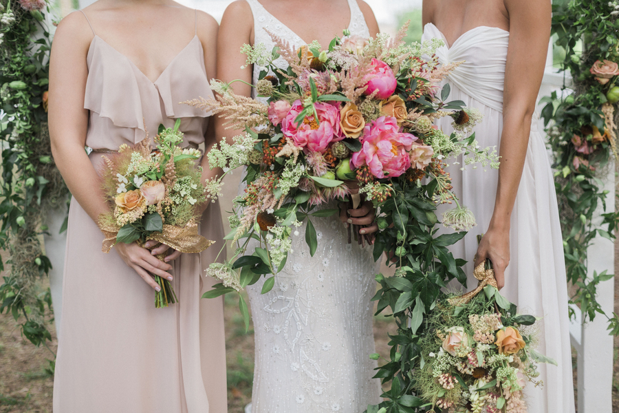 Glamorous McLeod Plantation wedding bouquets from Wildflowers Inc. in Charleston, SC