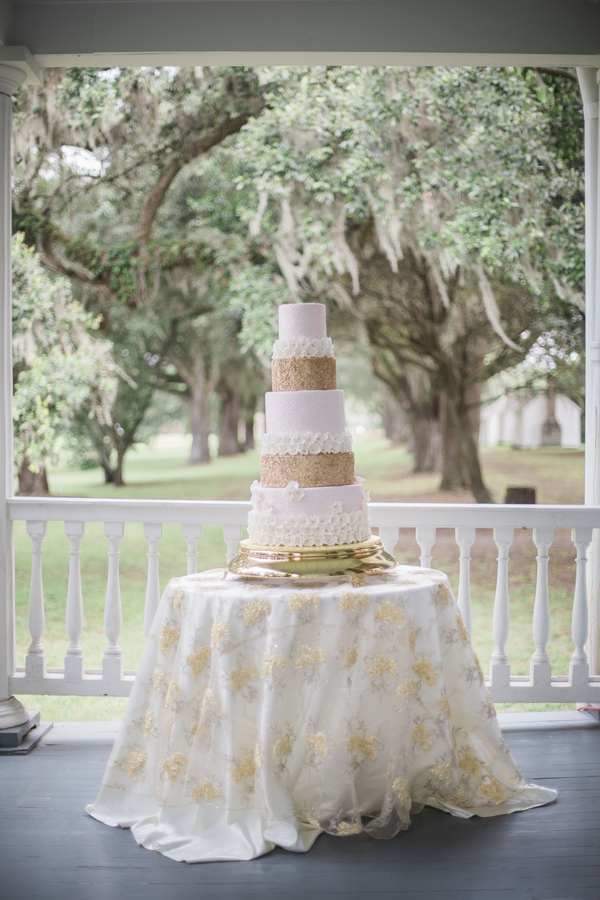 Glamorous McLeod Plantation wedding cake by Cakes by Kasarda