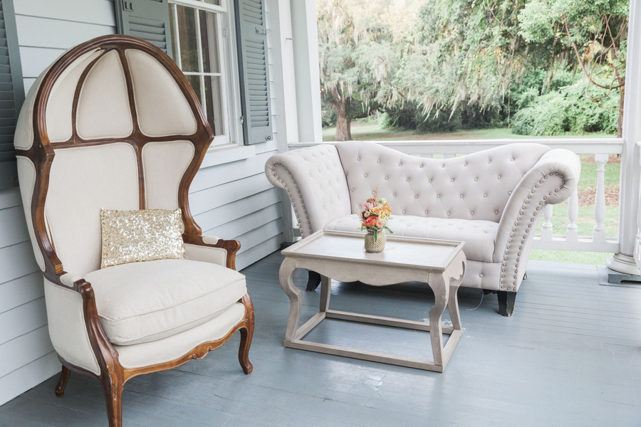 Glamorous McLeod Plantation wedding lounge furniture from EventHaus