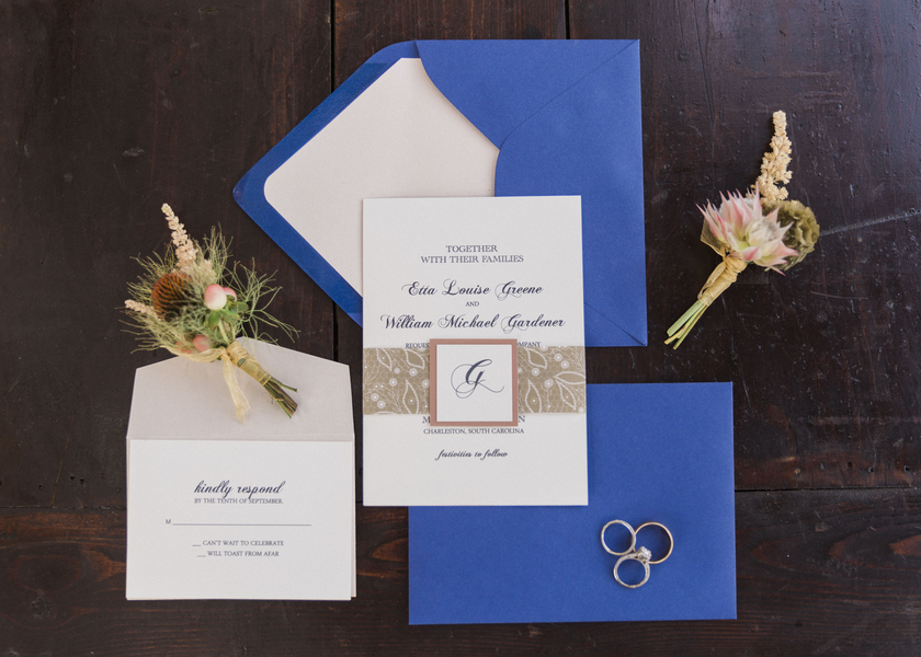 Charleston wedding invitations at McLeod Plantation by Dodeline Design
