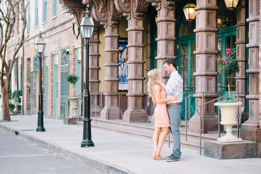Shelby + Jeremiah's Downtown Charleston engagement session in front of the Dock Street Theater