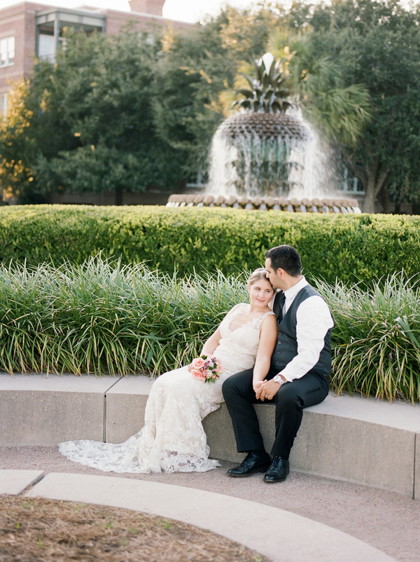 Charleston wedding anniversary in Amsale gown by Gillian Reinhardt