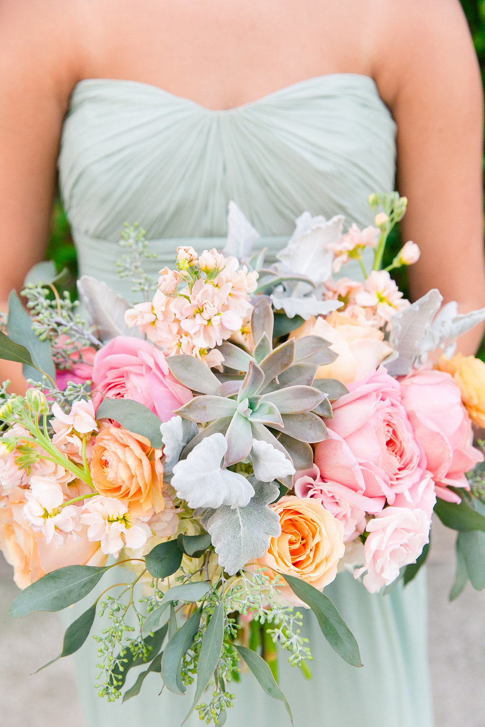 Mint & Pink Charleston wedding at the Pavilion at Patriots Point