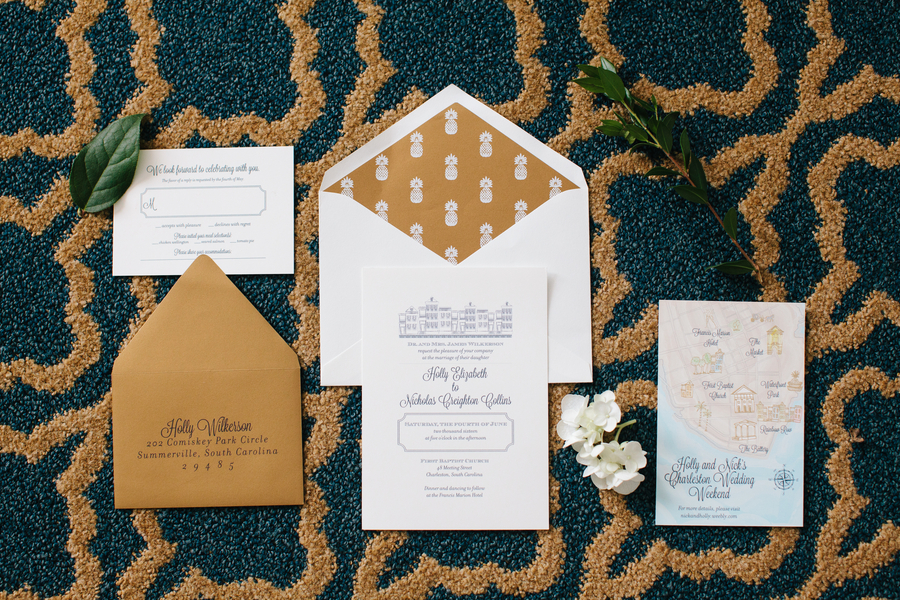 Gold wedding invitations by Dodeline Design