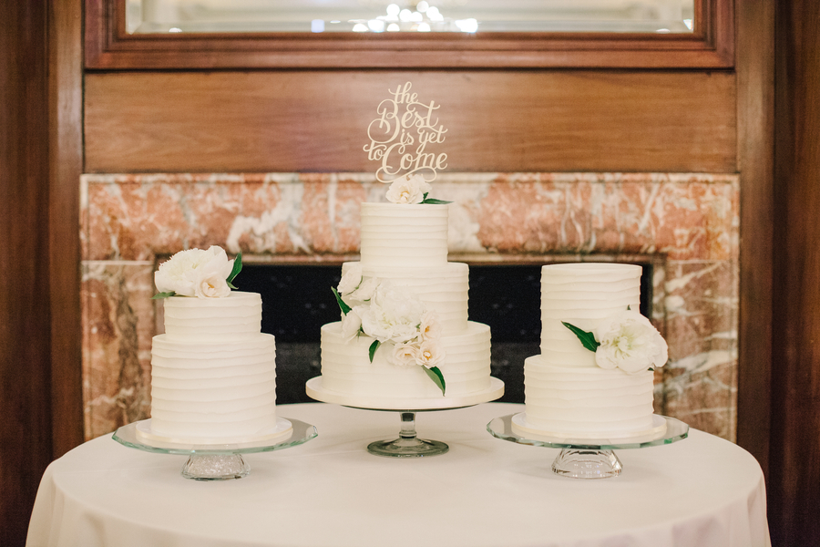 All-white wedding cakes by DeClare Cakes