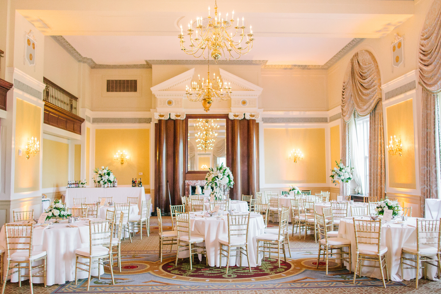 Gold and white reception at The Francis Marion Hotel by Ashley Nicole Events
