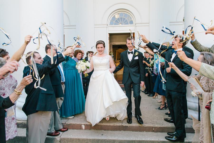 Ribbon wand departure at Charleston wedding