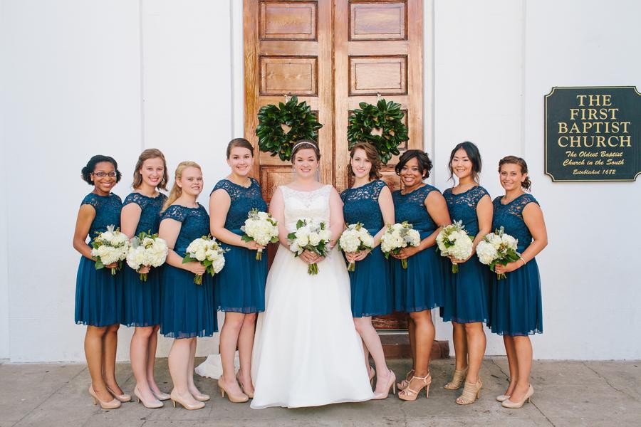 Navy lace bridesmaids dresses at Charleston wedding