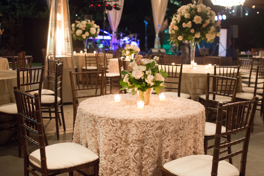 Blush and gold reception in the North Garden of The Ships of the Sea Museum by Anne Bone Events