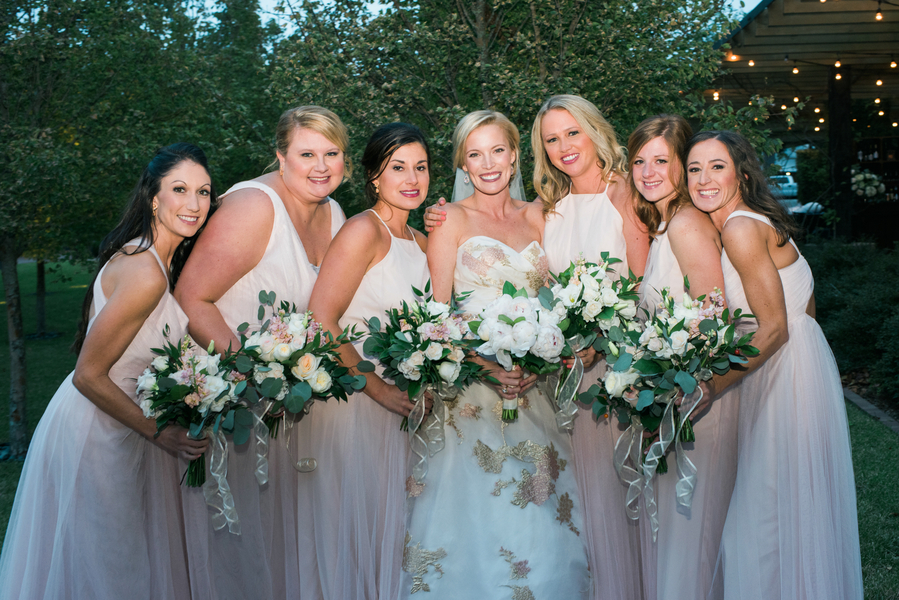 Soft pink bridesmaids dresses at Savannah wedding