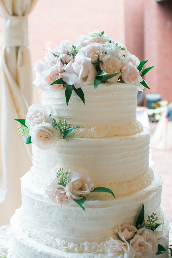 White wedding cake at Ships of the Sea Museum by MollieCakes
