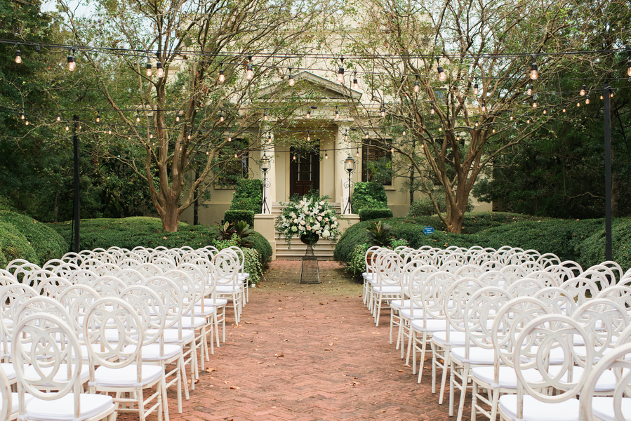 Savannah wedding ceremony in the Scabrough Garden at The Ships of the Sea Museum