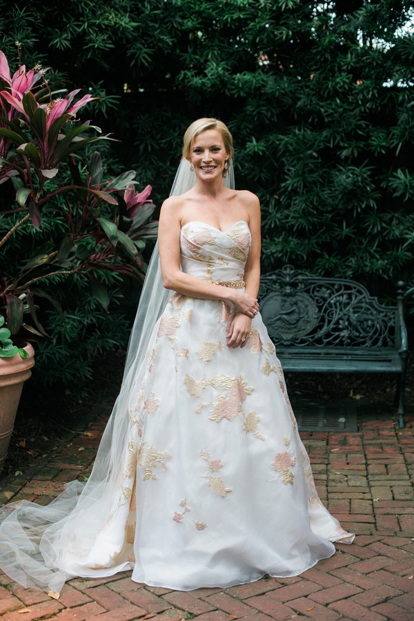 Blush and gold Monique Lhuiller wedding dress