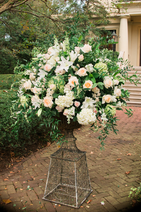 Ceremony flowers at Savannah, GA wedding by Donna Von Bruening Photography