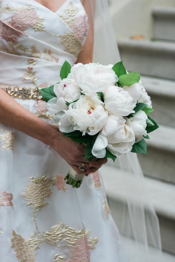 Bouquet of white peonies at Savannah wedding