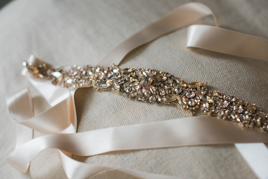 Embellished belt for Monique Lhuillier wedding gown