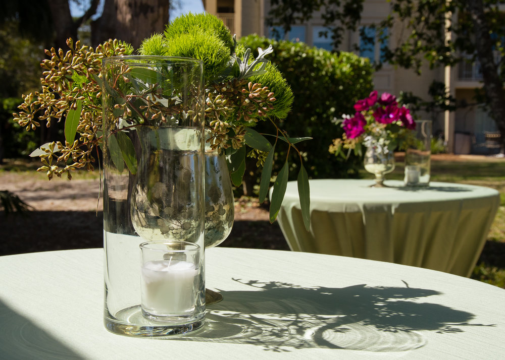Greenery centerpieces by Gardenias Event Floral in Hilton Head Island, SC