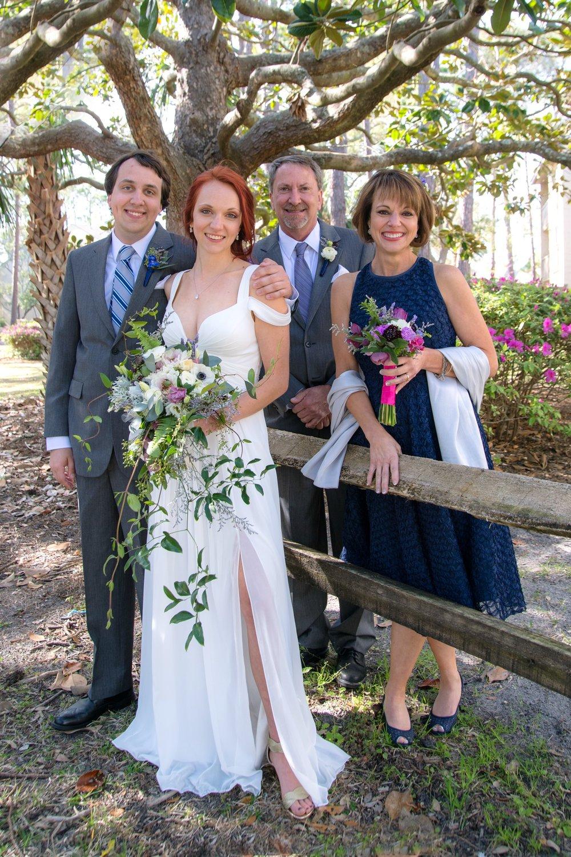 Family portrait at Hilton Head wedding