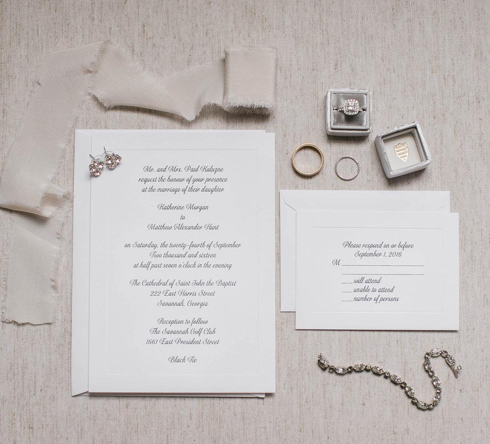 Savannah wedding invitations by Pace Printing