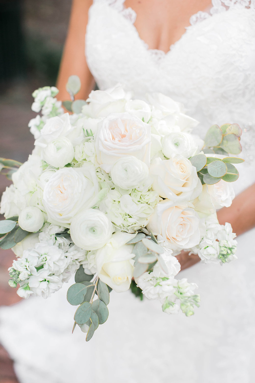 All-white bouquet at Savannah, Georgia wedding by JB Marie Photography