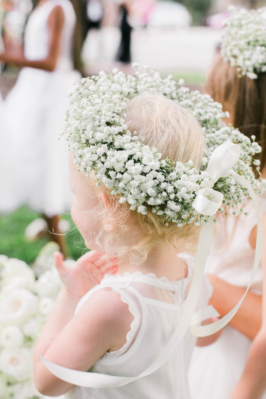 Baby's breath wreath for flower girl at Savannah wedding
