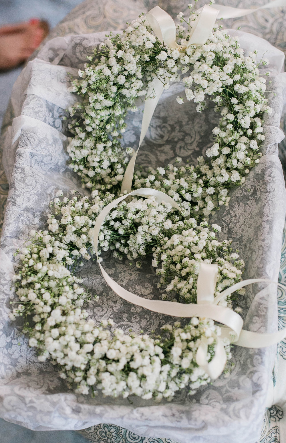 Baby's breath floral crowns for flower girls in Savannah