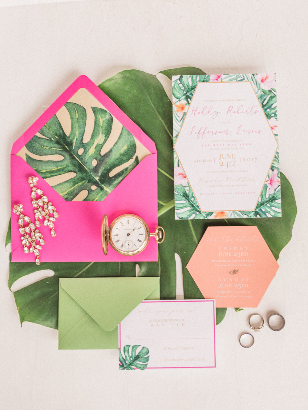 Tropical Styled wedding invitations at Magnolia Plantation and Gardens