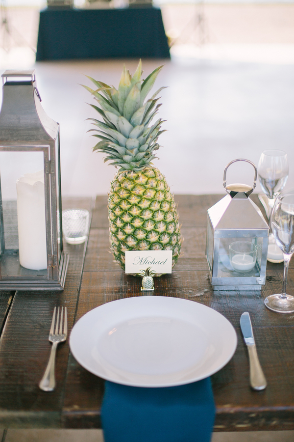 Pineapple wedding decor at The Island House by Riverland Studios