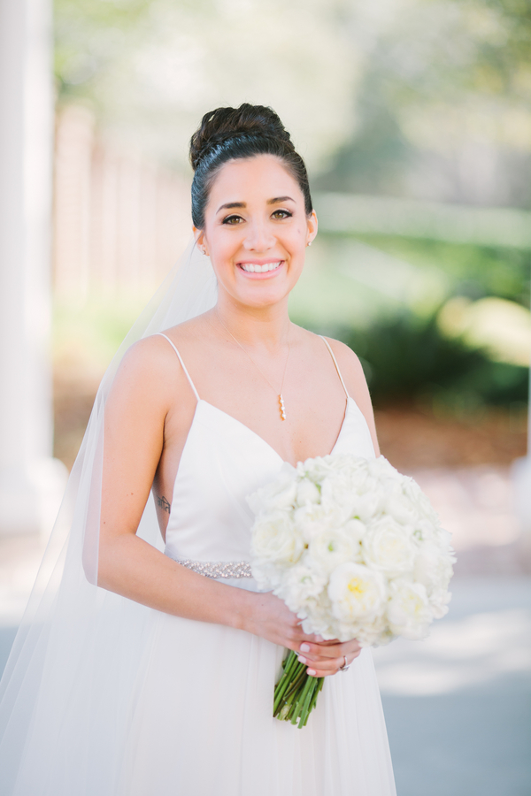 Berkeley Hall wedding with bride in Carol Hannah dres