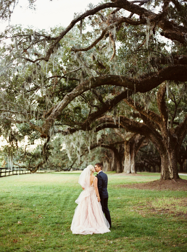 Blush, Burgundy & Gold Boone Hall Plantation wedding by JoPhoto