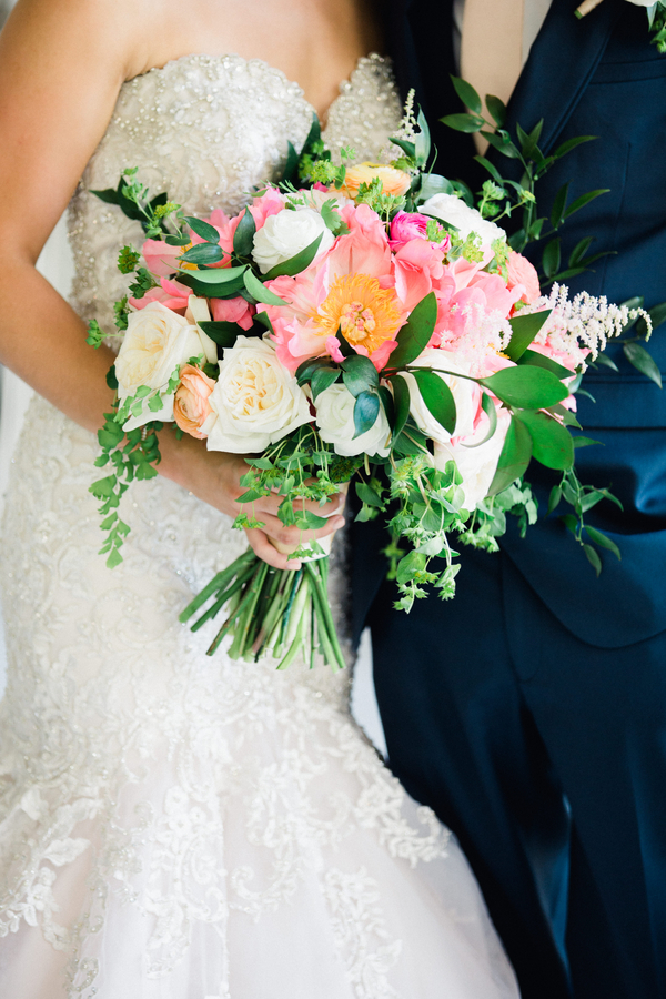 Pink peony bouquet by Duvall Events at Charleston wedding  //  Charleston wedding florist on A Lowcountry Wedding Magazine