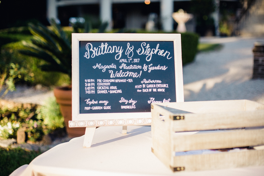 Chalkboard ceremony program at Magnolia Plantation & Gardens  //  Charleston wedding vendors on A Lowcountry Wedding Magazine