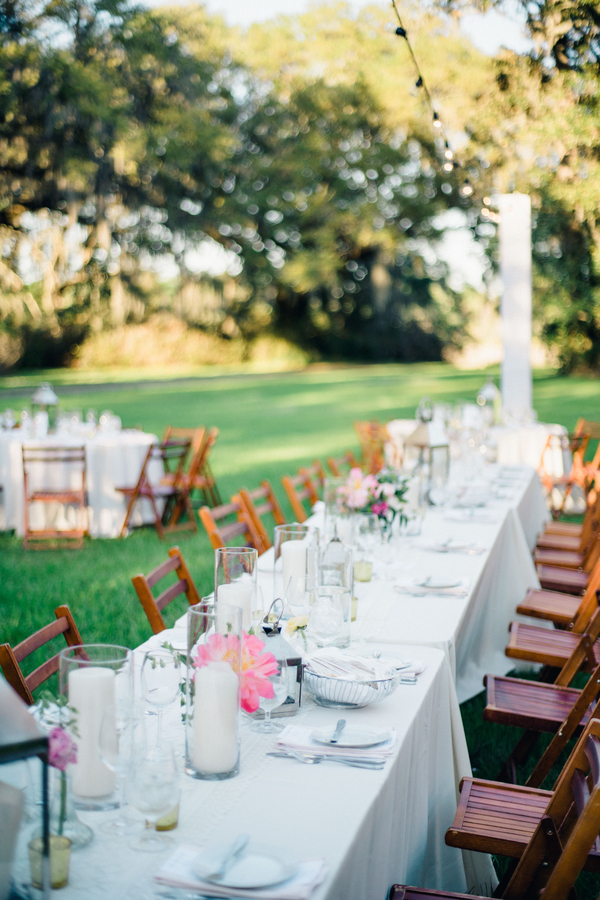 Outdoor reception on the lawn for Charleston wedding at Magnolia Plantation and Gardens by Philip Casey Photography