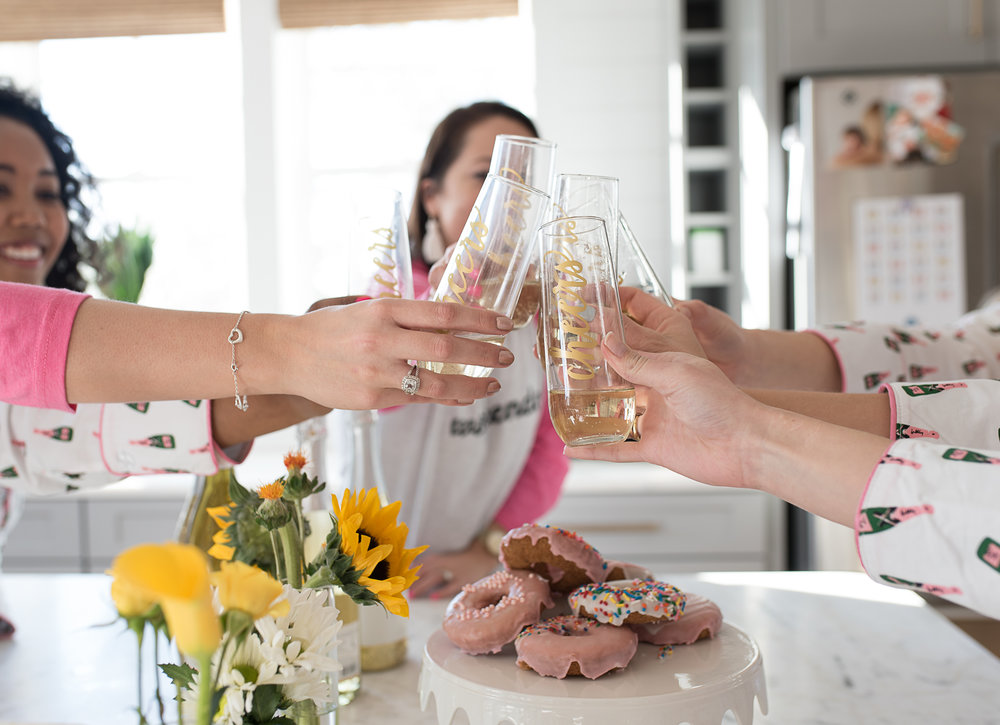 All girls slumber party champagne cheers  //  designed by Liz Martin of The Charleston Weekend  //  on A Lowcountry Wedding Magazine