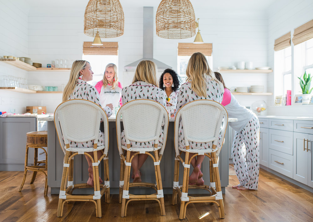 Valentine's Day slumber party in champagne pajamas  //  designed by Liz Martin of The Charleston Weekend  //  on A Lowcountry Wedding Magazine
