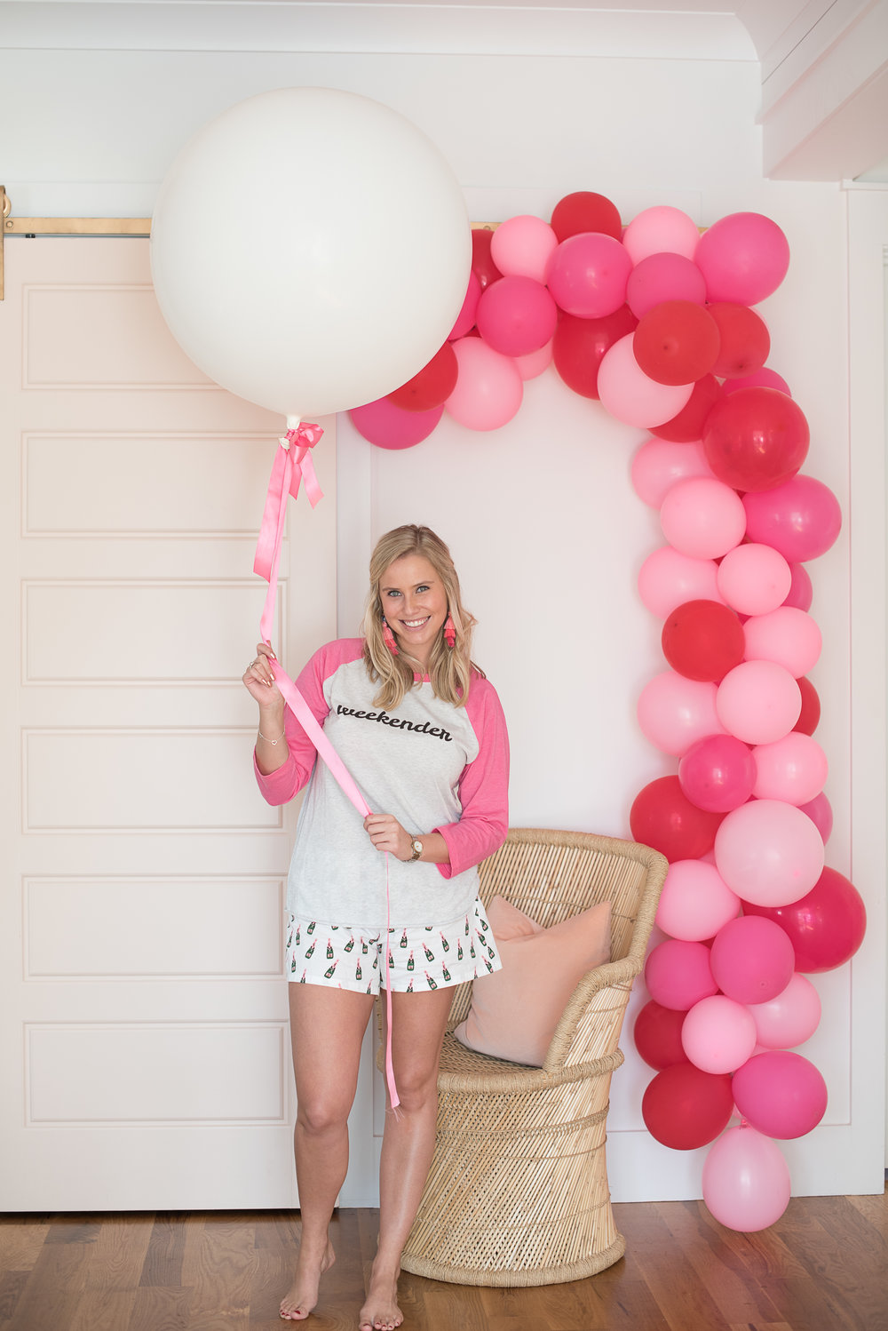 Pink, white and red balloon arch for Valentines Day from Cannonborough Collective  //  designed by Liz Martin of The Charleston Weekend  //  on A Lowcountry Wedding Magazine