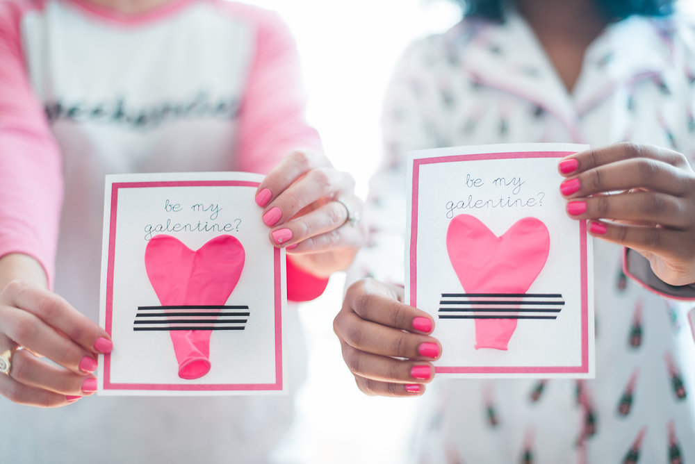 """Be My Galentine"" Cards with pink heart balloons and black and white stripped tape"