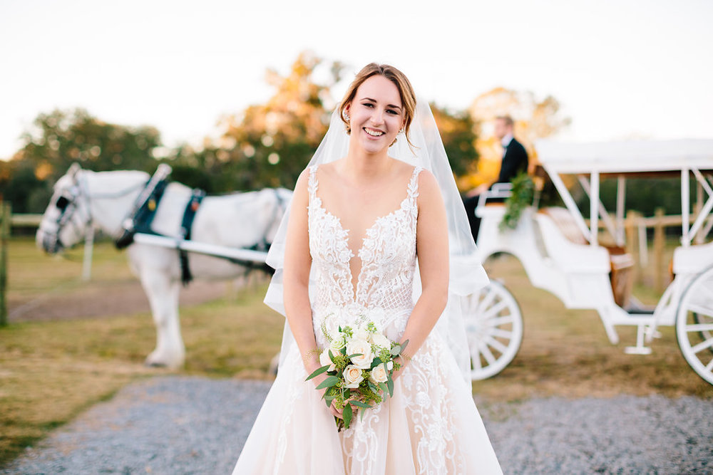 Bride in gown from Verita Bridal Boutique in Charleston, SC   //  Sugah Cain Plantation   //  Bride and her maids at Sugah Cain Plantation in front of white horse and Carriage  //  on A Lowocountry Wedding Magazine & Blog