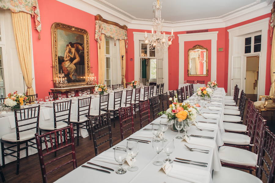 Reception seating at The William Aiken House in Charleston, SC  //  //  A Lowcountry Wedding Magazine & Blog