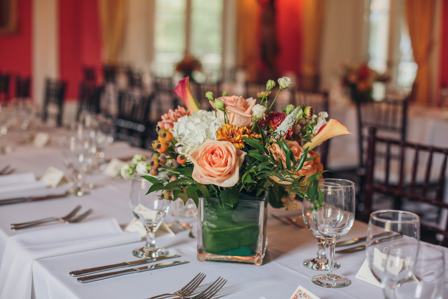 Peach floral centerpieces at The William Aiken House  //  Charleston wedding florist  //  A Lowcountry Wedding Magazine & Blog