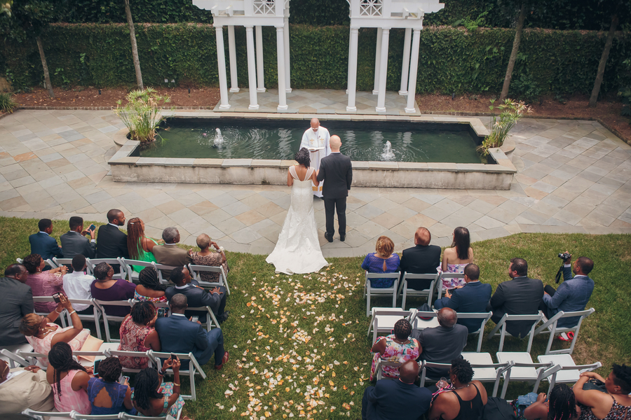 Outdoor wedding ceremony at The William Aiken House in Charleston, SC  //  A Lowcountry Wedding Magazine & Blog